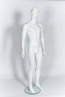 Plastic Male Mannequin With Moulded Hair (Gloss  White)