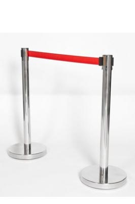 Retractable Crowd Control Barrier with Red Webbing