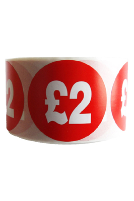 500 X Red £2 Self Adhesive Price Stickers