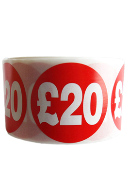 500 X Red £20 Self Adhesive Price Stickers Labels
