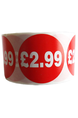 500 X Red £2.99 Self Adhesive Price Stickers