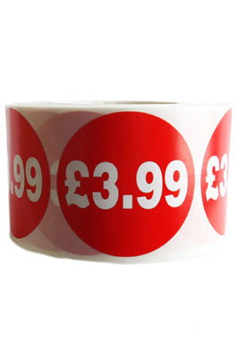 500 X Red £3.99 Self Adhesive Price Stickers Labels