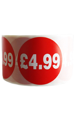 500 X Red £4.99 Self Adhesive Price Stickers Labels