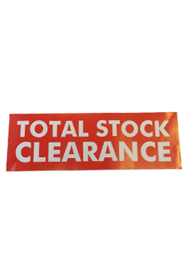 4 x Retail Shop Window Banner – Total Stock Clearance