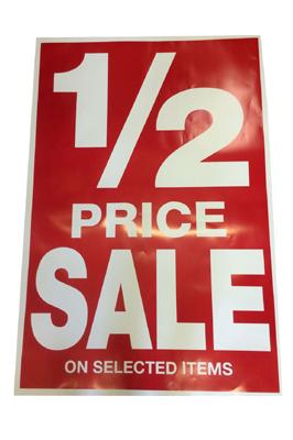 4 x Half Price Sale- Retail Shop Window Banner
