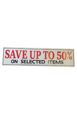 4 x Retail Shop Window Banner For Save Upto 50% Sign