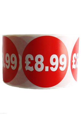 500 X Red £8.99 Self Adhesive Price Stickers Labels