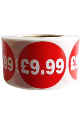 500 X Red £9.99 Self Adhesive Price Stickers Labels