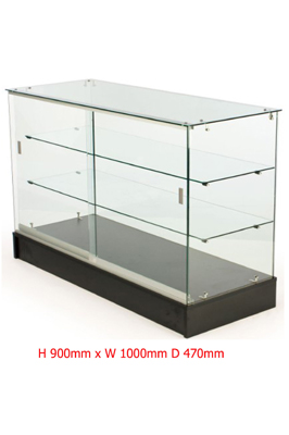Black Base Lockable Display Counter Cabinets