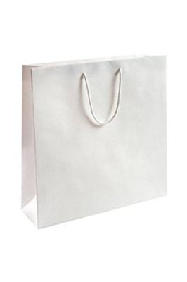 50 X  Luxury Gloss Paper Bags (L White 400 x 300 x 100 mm)