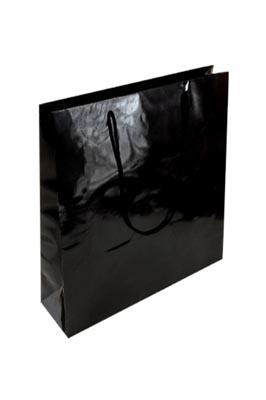 50 X Luxury Gloss Paper Bags (L Black 400 x 300 x 100 mm)