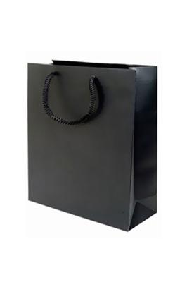 50 X Luxury Gloss Paper Bags (M Black 330 x 400 x 130 mm)