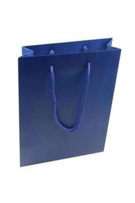 50 X Luxury Gloss Paper Bags (M Blue 400 x 350 x 120 mm)