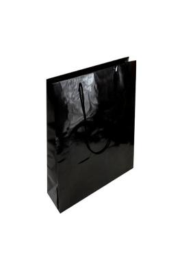 50x Luxury Gloss Paper Bags XS Black 250 x 150 x 100mm