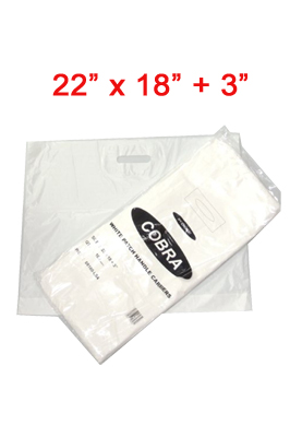 Patch Handle Carrier Bags – Cobra white pack of 500