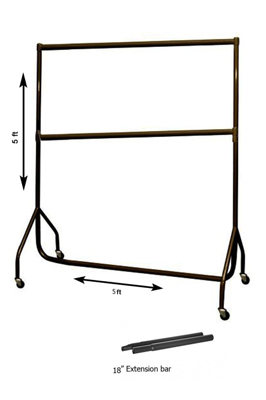 Black Garment Rail (5 x 5ft + Extn & mid bar)
