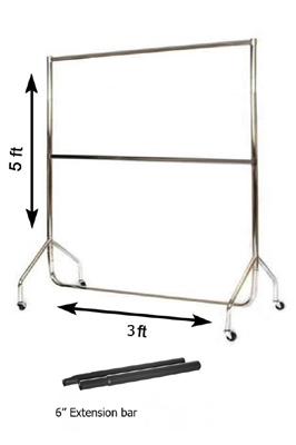 Chrome Garment Rail (3 x 5ft + Extn & Mid Bar)