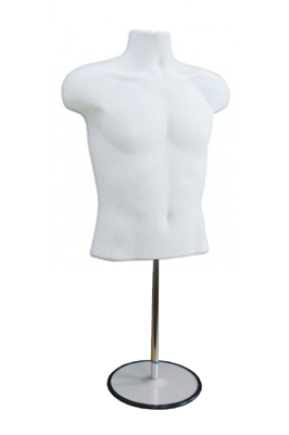 White Colour Male Mannequin Half Body Top Stand