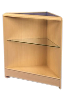 Maple Triangular Corner With Glass Shelf