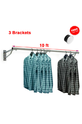 10FT x 25mm Tube & 3 Bracket – Garment Rack Display