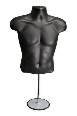 Black Male Mannequin Half Body Top Table Round Stand