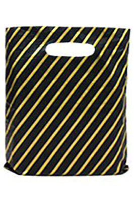 Black and Gold Striped Plastic Carrier Bags