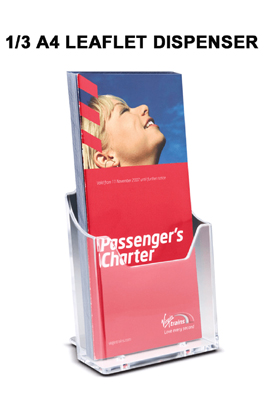 1/3 A4 Leaflet Dispenser- Wall Mounting/Slatwall