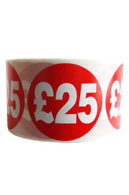 500 x Red £25 Price Self Adhesive Stickers