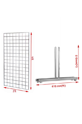 4Ft Heavy Duty Grid Wall Display Panel With T-Leg Pair