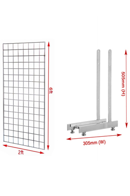 New 6ft Gridwall Mesh Panel With L-Leg Pair