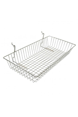 "Heavy Duty Gridwall Mesh Shallow Basket (24""x12""x4"")"