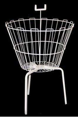 White Round Dump Bin Basket