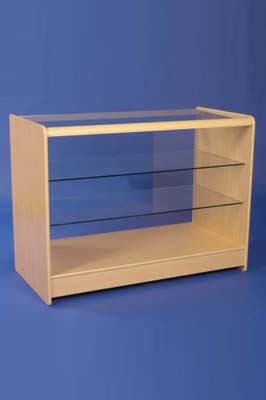 Maple color Wooden Glass Fronted Showcase 1200mm