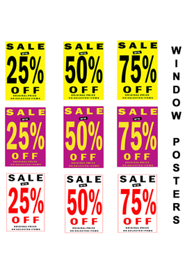 Window Posters SALE 25%, 50%, 75%.PACK OF 1