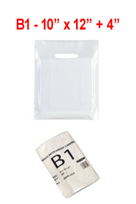 Patch Handle Carrier Bags White – B1(10″ X 12″ + 4″) pack of 500