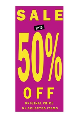 sale  Sign poster 50% Posters In Yellow Letters