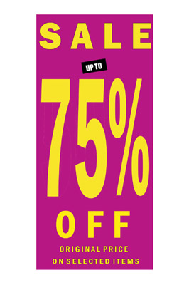 Sign Sale poster 75% In Yellow Letters