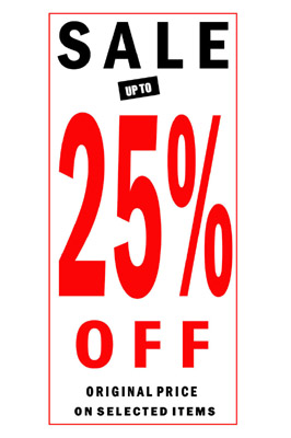4 x Sale 25% Off Sign Poster With Black And Red Letters