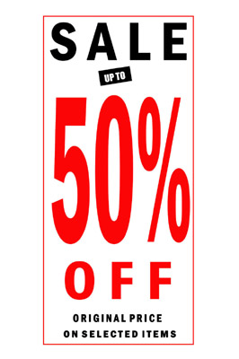 4 x Sale 50% Off Sign Poster With Black And Red Letters