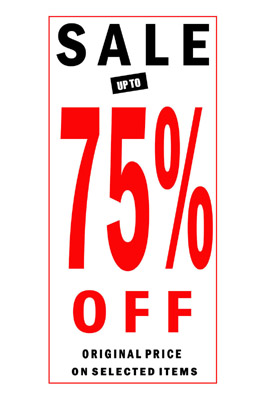 4 x Sale 75% Off Sign Poster With Black And Red Letters