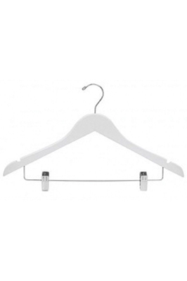 Economy White Trouser Hangers with Clips