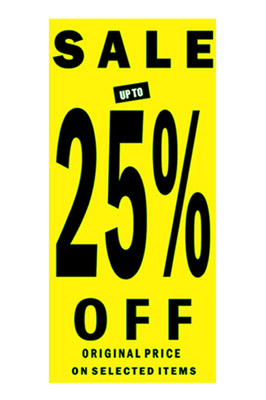 Sale Sign 25% Off Posters In Black Letters pack of 1