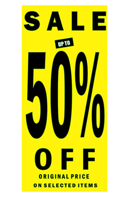 Sale Sign 50% Off Posters In Black Letters pack of 1