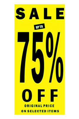 Sale Sign 75% Off Posters In Black Letters