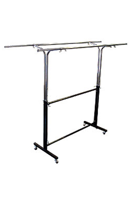 Adjustable Double Black & Chrome Garment Rail