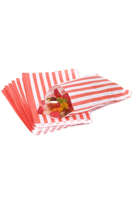 Candy Stripe Paper Bags – Red (5″ x 7″)