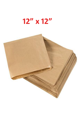 "Kraft Paper Food Bags brown  12"" x 12"" pack of 500"