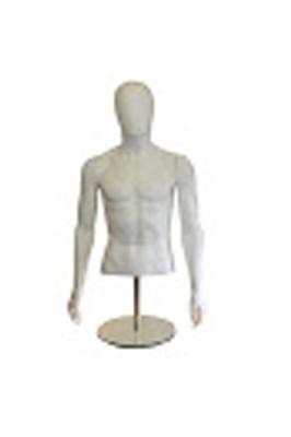 Male Egg Head Bust with Arms – White