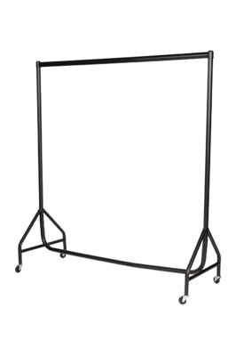 Reinforced Garment Rail – Black with Chrome Top Rail-3ft