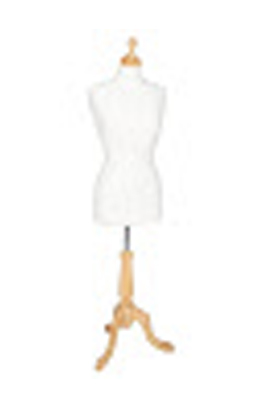 Wooden Base and Neck Female Display Bust-Cream